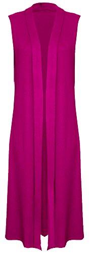 Re Tech UK da donna senza maniche Maxi Lunghezza Boyfriend Cardigan con colletto lungo superiore morbido Spolverino Giacca sportiva GILET Hot Pink