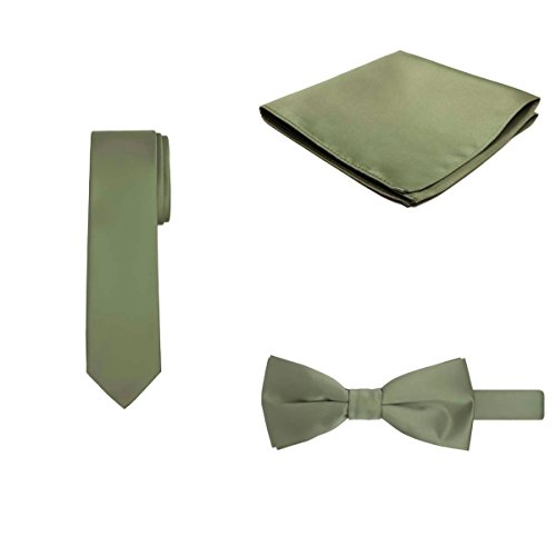 Jacob Alexander Regular Necktie Bowtie Pocket Square Matching 3 pc Set - Olive Green Pocket Square Olive