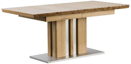 Ausziehbarer Säulentisch Bolzano - Tischplatte und Gestell Kernbuche massiv matt lackiert - Absetzung Gestell und Bodenplatte Edelstahloptik - Maße in B/H/T: ca. 160(260)x77x90 cm