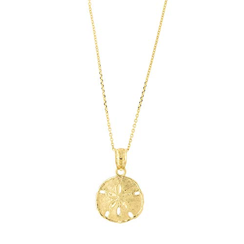 (14k Yellow Gold Large Sand Dollar Pendant Necklace with Cable Chain, 18