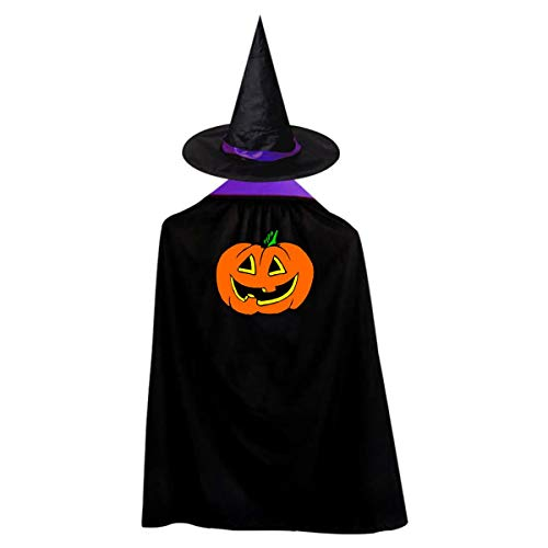 Halloween Children Costume Cute Halloween Pumpkin Wizard Witch Cloak Cape Robe And Hat Set ()