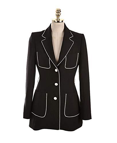 Sashes Pockets Single Breasted Ol Blazer Slim Waist Elegant Jacket,Black,L (66 Blazer Route)