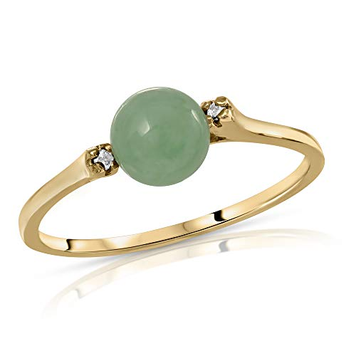 Regalia by Ulti Ramos 14K Gold Genuine Jade and .02cts Diamond Ring (Yellow Gold)