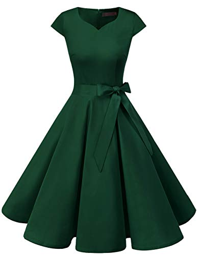 DRESSTELLS Retro 1950s Cocktail Dresses Vintage Swing Dress with Cap-Sleeves DarkGreen L
