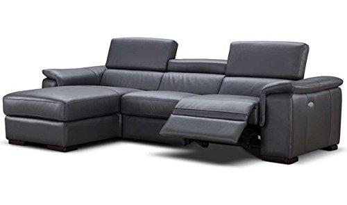JNM Furniture Allegra Premium Leather Left Facing Sectional Sofa in Slate Grey