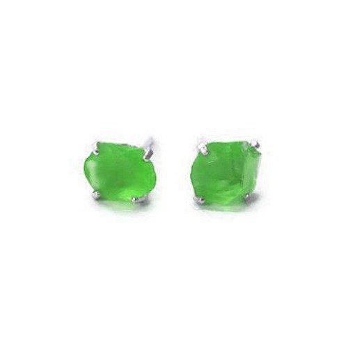(Green Sea Glass Stud Earrings in Sterling Silver)