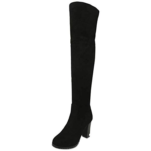 High Thigh Zip Coolcept Heel Women Black Boots Half zq54U8x1w