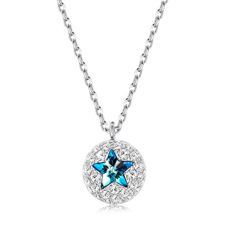 Sllaiss Sterling Silver Swarovski Crystal Pentagram Necklace for Women Pentacle Pendant Round Circle Necklace for Girls
