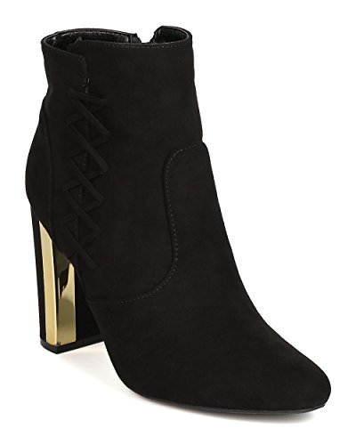 Qupid Women Faux Suede Lace Up Metallic Trim Chunky Heel Bootie GJ18 - Black (Size: 8.5) ()