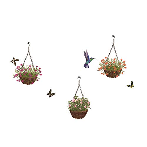 Iusun Wall Stickers Hummingbird Hanging Basket Flower Pattern Wall Affixed Mobile Removable Art Decal Mural for Bedroom Living Room Restaurant Kids Nursery Kindergarten Mall Decoration -