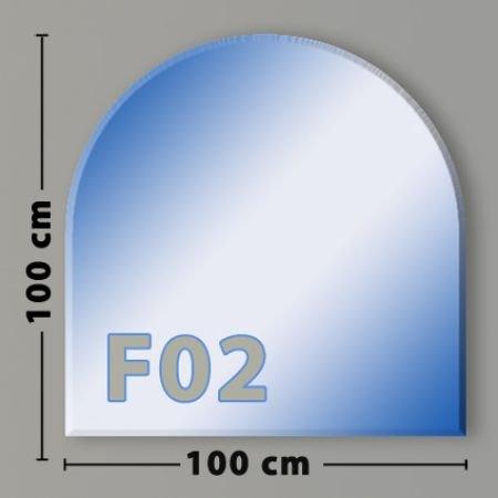 Funkenschutzplatte  Glasbodenplatte  Kaminbodenplatte Klarglas Rundbogen 100 x 100cm F02