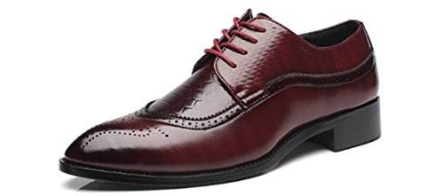 Gentle Shoes Mall Men's Fashion Brogues Classic Wingtip Business Shoes Lace-Up Oxfords Shoes (6.0, Wine - Florence In Malls