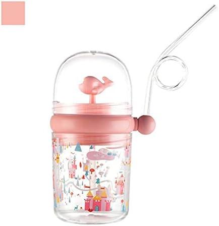 Taza de agua portátil de 260 ml con pajita de dibujos animados (color: rosa)