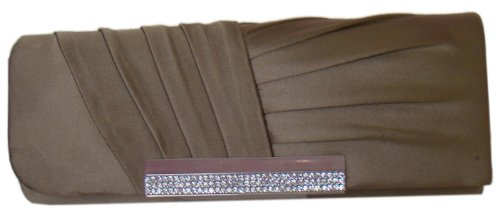 Fashion en avec strass Fashion pochette cuir pochette marron wt4AZqdwR