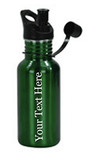 Customized 3D Laser Engraved Personalized 17 oz Custom Stainless Steel Water Bottle (Green)