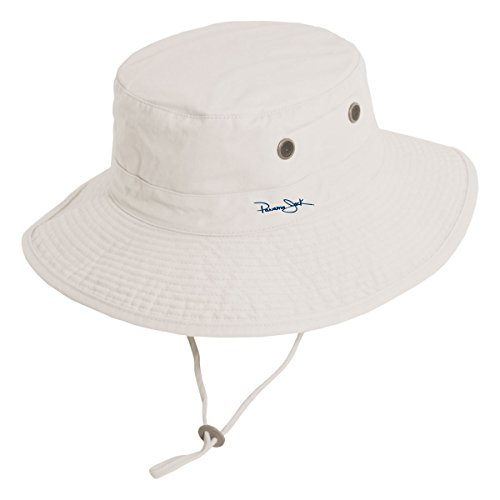 Panama Jack Unisex Bonnie Bucket Hat with Chin Cord (Large, Putty) (Embroidery Bucket Hat)