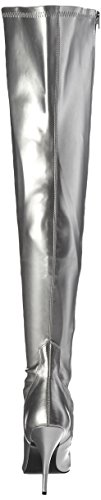 Leather Slv Str Bottines SEDUCE Femmes Pleaser Faux 3000 amp; Argent Bottes nxvTBPTq