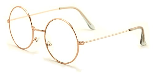 Casual Fashion Medium Round Circle Clear Flat Lens Eyeglasses Thin Frame Unisex Glasses (Gold, Clear) - Circle Lenses