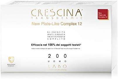 LABO CRESCINA TRANSDERMIC NEW PLATE-LIKE COMPLEX 12 Tratamiento completo Ri-Crescita y Anti-caída Cabello 200 Hombre 20+20 ampollas