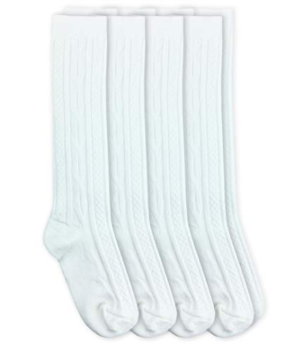 Jefferies Socks Girls School Uniform Cable Knit Knee High Socks 4 Pair Pack (M - USA Shoe 12-6 - 5-10 Years, - Girls Cable Knit