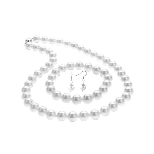 LUREME Fashion Style Pearl Elastic Necklace Bracelet Dangle Earring Set-White(09000649-1)