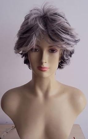 foxxeo 10194 | los años ochenta peluca de pelo corto para mujer gris con mechones Mujer