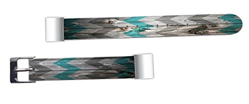 Leather Bands Replacement For Fitbit Charge 2 - Strap Compatible For Fitbit Charge 2 Small & Large Silver Women Men - Retro Print Vintage Theme Pattern Art by ENDIY (Image #2)
