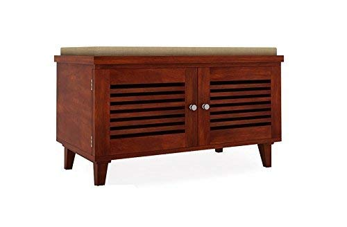 Woodstage Mango Wood Shoe Rack Cabinets Shoes Storage Table Seating Bench Furniture for Home  Brown Finish