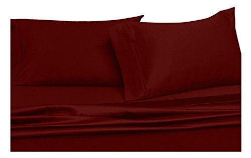 Solid Burgundy Top-Split-CalKing: Adjustable California King Bed Size Sheets, 4PC Bed Sheet Set, 100% Cotton, 300 Thread Count, Sateen Solid, Deep Pocket, by Royal Hotel