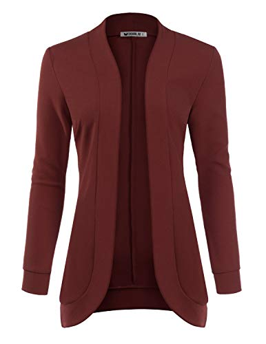 Doublju Womens Basic Long Sleeve Textured Open Front Cardigan with Plus Size