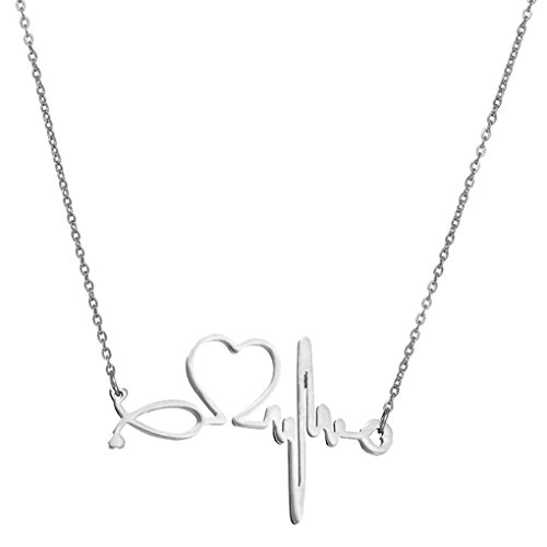 SXNK7 Stainless Steel Gold Silver Heartbeat Cardiogram ECG Pendant Stethoscope Chokers Necklace (Silver) (Gift Ideas For Someone Graduating Nursing School)