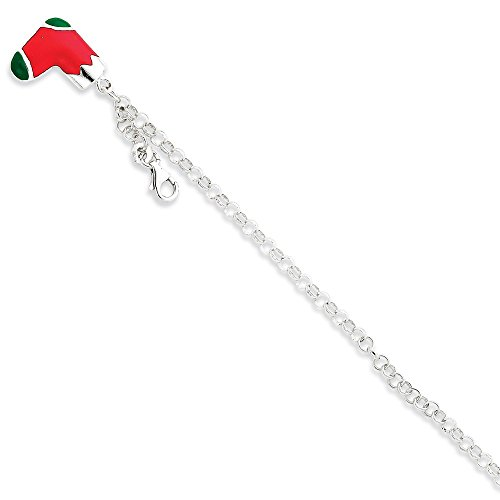 925 Sterling Silver Enameled Bracelet 7.5 Inch Charm W/charm Holiday Fine Jewelry Gifts For Women For Her