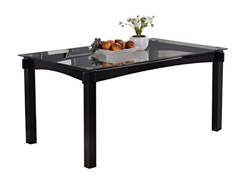 Kings Brand Rectangle Cappuccino Finish Wood with Glass Dining Kitchen Dinette Table (Glass Table Rectangle Dining)