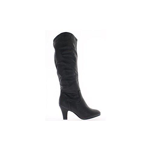 8cm Leder high heels schwarz Stiefel