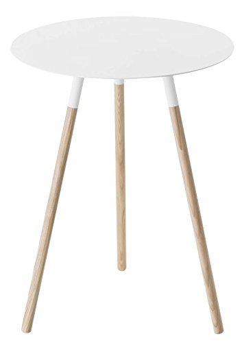 Wood Table Finish Steel (Wood & Steel Mid-Century Modern Round Side Table in White Finish)