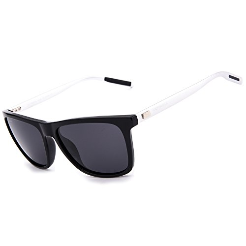 VEITHDIA 6108 Al-Mg Metal Frame Polarized Retro Wayfarer Sunglasses (Black Frame/Grey Lens, - Polaroids Online