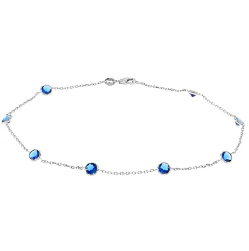14k White Gold Ankle Bracelet With Blue Cubic Zirconia Stations (9 - 11 inches) by amazinite