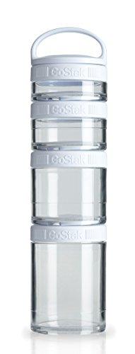BlenderBottle C00358 GoStak Twist n' Lock Storage Jars, 4-Piece Starter Pak, White