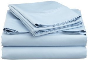 Solid Blue 300 Thread Count Olympic Queen size Sheet Set 100 % Cotton 4pc Bed Sheet set (Deep Pocket) By sheetsnthings