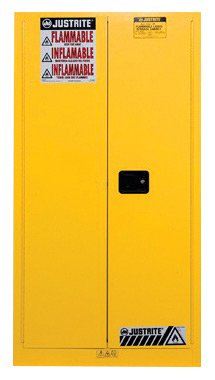 Justrite 55 Gallon Yellow Sure-Grip EX 18 Gauge Cold Rolled Steel Vertical Drum Safety Cabinet With Self-Closing Doors, Shelf And Drum Support - 1 EA