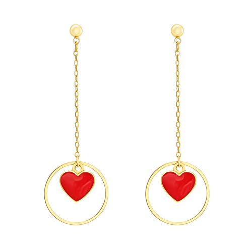 Round Heart Gold - FAMARINE Red Heart Drop Earrings Cute Lovely Round Circle Dangle Gold Stud Earring for Teen Girls Women Kids Gifts