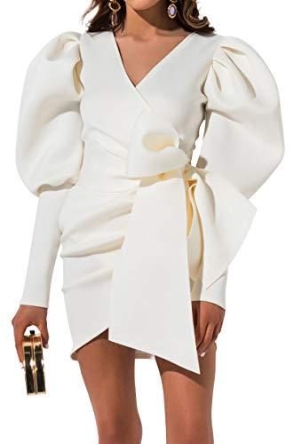 AKIRA Women's Scuba Knit Neoprene Puff Shoulders Long Sleeve Wrap Front Statement Mini Dress-White_S ()