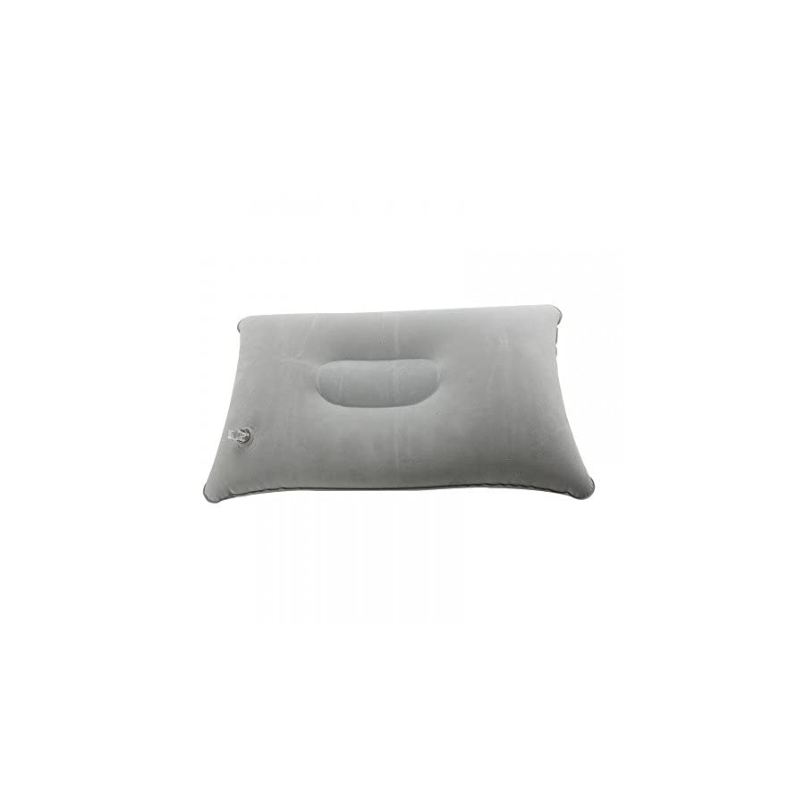 Super Thick Flocking Fabric Inflatable Pillow Portable Travel Pillow Grey