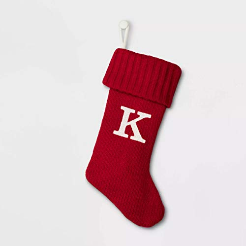 Wondershop 19 Inch Cable Knit Monogram Christmas Stocking with Embroidered Inicial Letters - White Red (Red - Letter K)