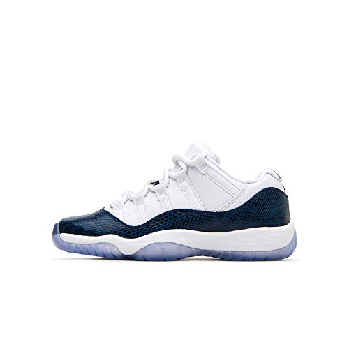 - Nike Jordan Kids' Grade School 11 Retro Air Jordan Low Basketball Shoes (7M, White/Black/Navy)