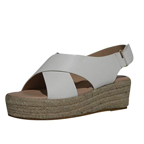 ◕‿◕Watere◕‿◕ Women Open Toe Breathable Beach Sandals Rome Casual Solid Color Wedges Shoes Fish Mouth Breathable Sandals White]()