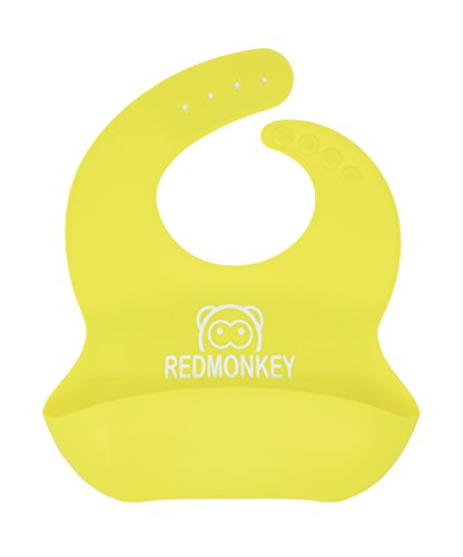 Red Monkey [6 Color] Waterproof Easy Clean Kids Safe Silicone Bibs For Infant Baby Newborn Toddlers Boy Girl Drool Overalls Bandana Necklace Apron Holder Feeding Any Time Dishwasher Re-Useable (Neon)