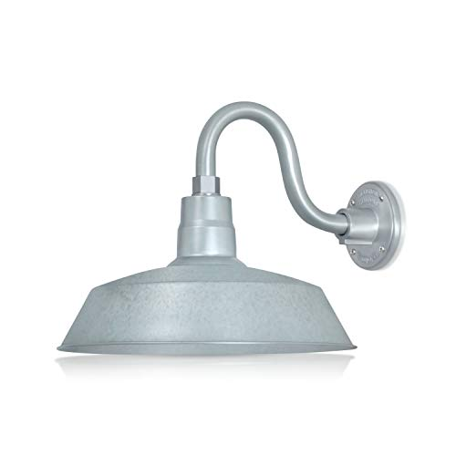 14in. Galvanized Finish Outdoor Gooseneck Barn Light Fixture with 10in. Long Extension Arm - Wall Sconce Farmhouse, Vintage, Antique Style - UL Listed - 9W 900lm A19 LED Bulb (5000K Cool White)