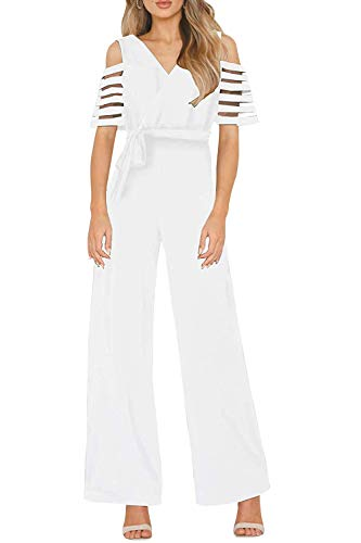 Pink Queen Women's Cold Shoulder Mesh Sleeve Faux Wrap High Waist Jumpsuits with Belt XL White