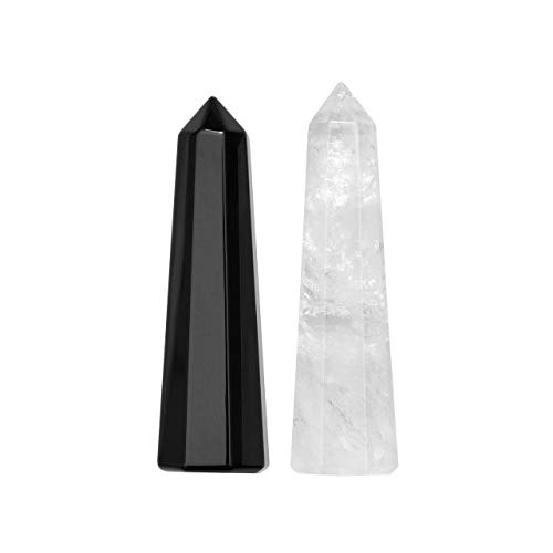 Jovivi Set of 2 Healing Crystal Wands, Crystals and Healing Stones Set Clear Quartz Black Obsidian Points 6 Faceted Reiki Chakra Stones Meditation Therapy